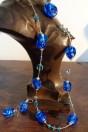 Parure perles bleues dur feuille d'argent