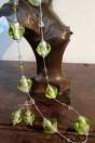 Parures perles vertes semi iridescentes feuille d'argent