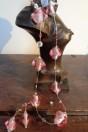 Parures perles roses semi iridescentes feuille d'argent