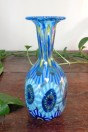 Petit vase long col murrines tons vert et turquoise