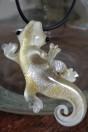 Salamandre ivoire feuille d'or et feuille d'argent