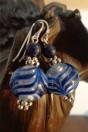 Boucles d'oreilles perles artistiques bleues style phénicien