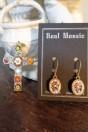Parure en mosaïque byzantine, croix et boucles d'oreilles multicolor