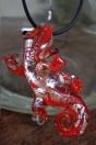 Salamandre rouge avec aventurine et feuille d'argent