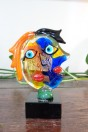 Sculpture visage Picasso multicolor