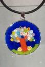 Medaille Murano arbre de vie medio bleue