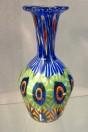 Petit vase long col grandes murrines vert et bleu