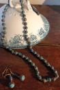 Parure perles spirales opaques turquoises