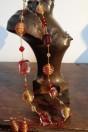 Parures perles artistiques spirales rouges et feuille d'or