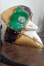 Masque Bauta vert et violet en papier mâché