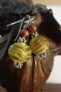 Boucles d'oreilles perles artistiques vertes style phénicien