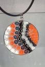 Medaille Murano orange et noir